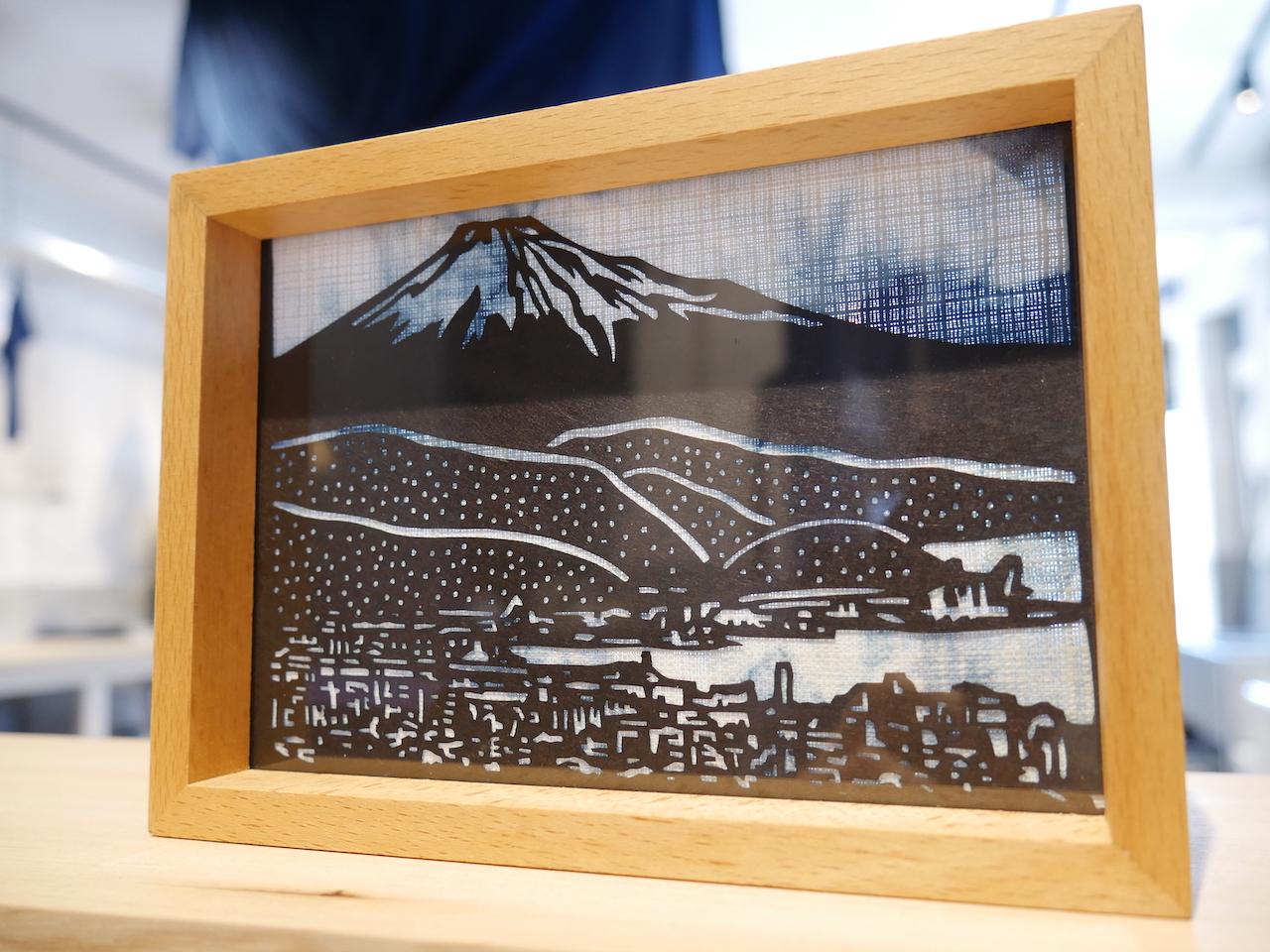 一点物の藍染型紙フォトフレーム:日本平から富士山を眺めた風景