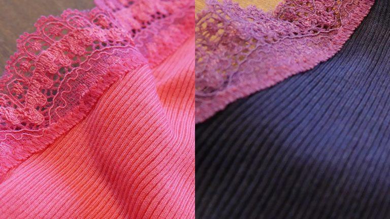 藍染めビフォーアフター:鮮やかなピンクのキャミソールを藍染リメイクした例