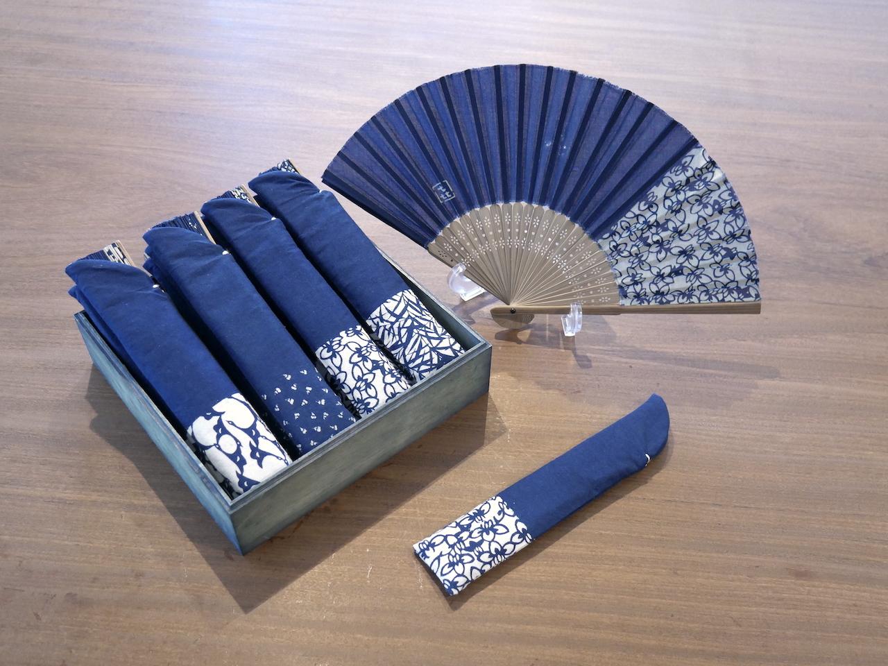 本藍染デザイン扇子セット:人宿藍染工房
